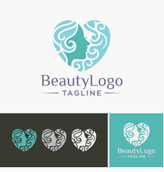 beauty salon logo icon emblem template vector image