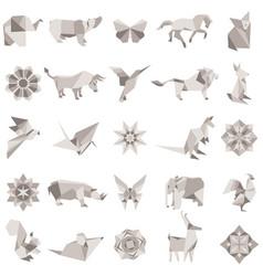 Big set of animal origami figures vector