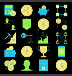 bitcoin and altcoins icon set in flat style vector image