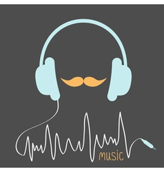 Blue headphones with cord Orange moustaches vector