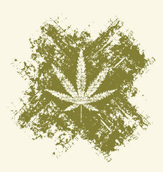 Cannabis leaf and cross in grunge style vector