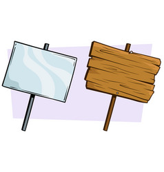 Cartoon wooden and glassy sign set vector