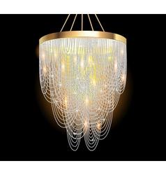 chandelier with crystal pendants vector image