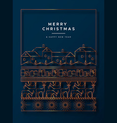 Christmas new year gold copper card winter city vector