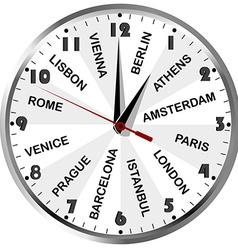 Clock with cities from Europe vector image