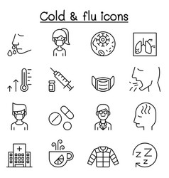 cold flu allergy sick icon set in thin line style vector image