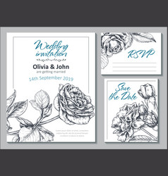 collection templates for wedding cards vector image