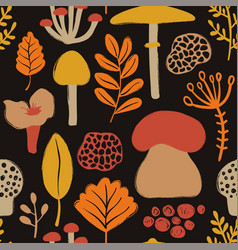 colorful seamless pattern with mushrooms vector image
