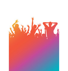 Colourful gradient party audience silhouette vector