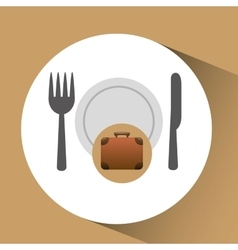 concept travel restaurant suitcase vintagedesign vector image