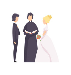 couple newlyweds and priest officiating wedding vector image