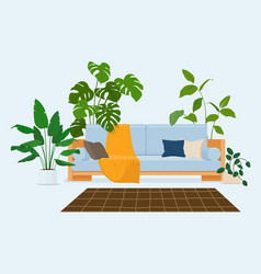 Cozy modern scandinavian interior with sofa vector