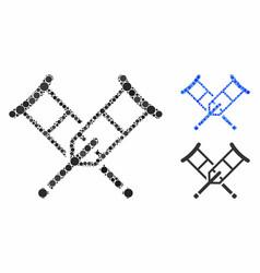 Crutches composition icon circle dots vector