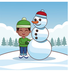 cute boy with snowman vector image