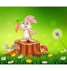 Cute bunny holding carrot on tree stump in summer vector