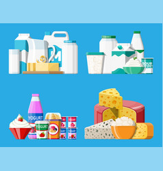 dairy products set collection of milk food vector image