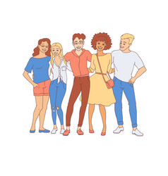 Diversity group of people hugs - hand drawn young vector