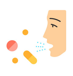 Drug allergies flat design long shadow color icon vector