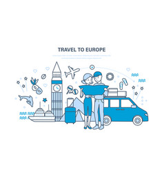family hold joint vacation in summer in europe vector image