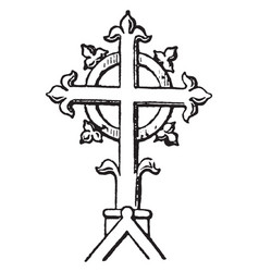Finial cross religion vintage engraving vector