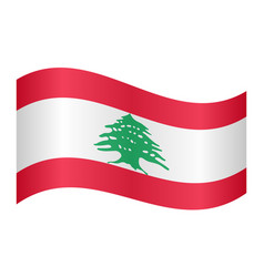 Flag of lebanon waving on white background vector