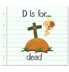Flashcard letter D is for dead vector