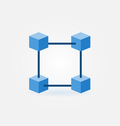 Flat blockchain blue icon vector