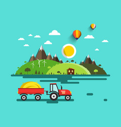 Flat design landscape tractor with dray on field vector