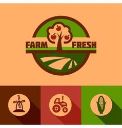 flat farm emblems vector image