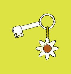 Flat shading style icon key and key fob vector