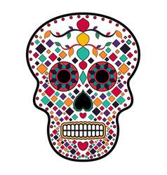 floral ornamente head skull day of the dead vector image