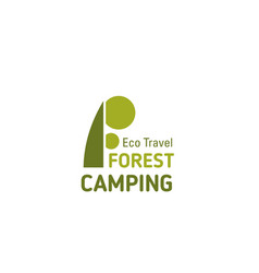forest camping travel letter f icon vector image