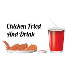 fried chicken and drink vector image