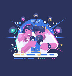 friends sing in karaoke club vector image