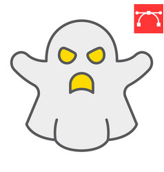 Ghost color line icon halloween and scary ghost vector
