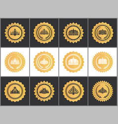 gold royal quality approval marks with crowns set vector image