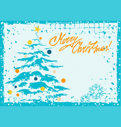 greeting card with christmas tree vector image