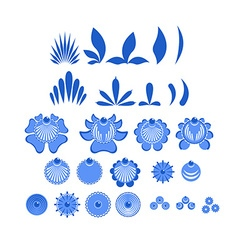 Gzhel painted set of elements Flowers and leaves vector