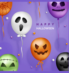 halloween 3d balloons background scary air vector image