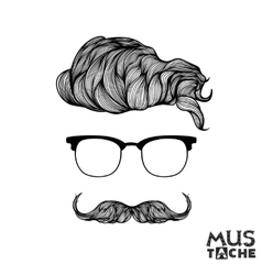 Hand Drawn Mustache Beard and Hair Style vector
