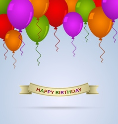 Happy birthday card with ballons and ribbon vector image