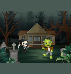 Happy halloween frankenstein and grim reaper in fr vector