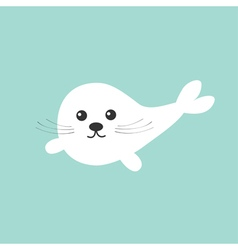 Harp baby seal pup with mustaches Cute cartoon vector