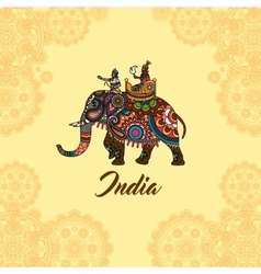Indian maharaja on elephant mandala ornament vector image