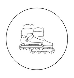 Inline skates and scooter icon in outline style vector