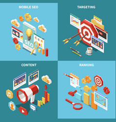 isometric web seo icon set vector image