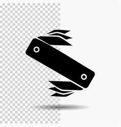 Knife army camping swiss pocket glyph icon on vector