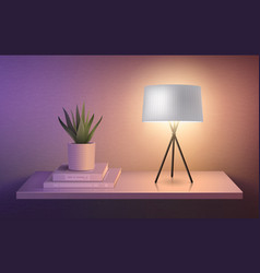 Lamp and flower pot vector