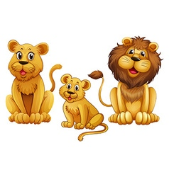 Lion family with one cub vector