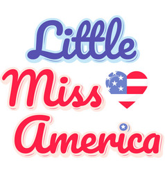 little miss america on white background vector image